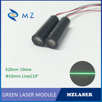 520nm 10 mw 110 graus linha verde do laser módulo de trabalho baixo consumo de energia de baixa temperatura industrial APC impulsionado a laser