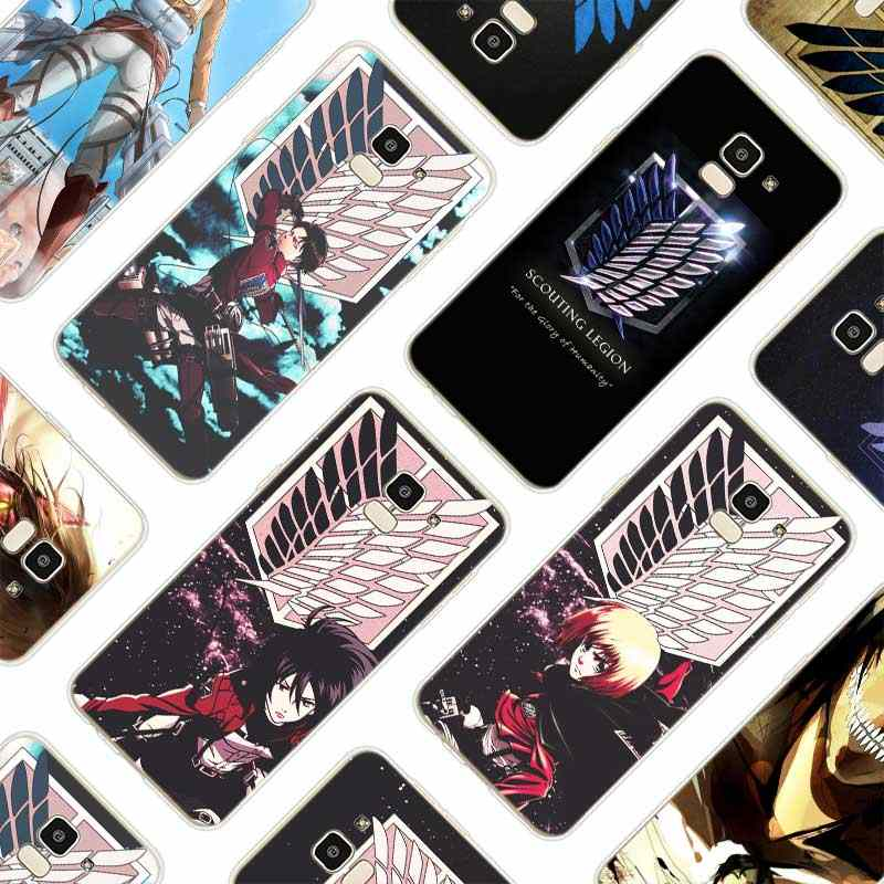 Silicone Soft Phone Case Anime Japanese attack on Titan For Samsung Galaxy j8 j7 j6 j5 j4 j3 Prime Plus 2018 2017 2016