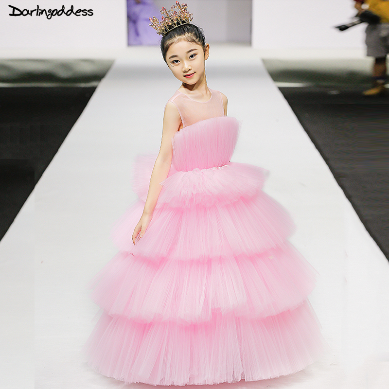Pink Pageant Dresses For Girls Glitz Ball Gown Cloud Flower Girl Dresses For Weddings 2018 First Holy Communion Dresses Ruffles