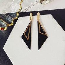 Simple triangular asymmetrical earrings Temperamental personality Long Geometric
