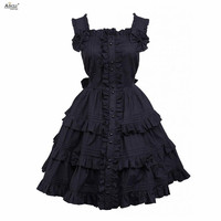 Gothic Lolita Dress Cotton Black Sleeveless Cosplay Costumes Beautiful Girls Lolita Dress Ainclu XS XXL/Support Customization
