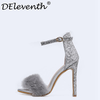 2018 New Fashion Bling Giltter Feather Stiletto High Heels Woman Shoes Nightclub Sexy Sandals Fur Peep Toe Party Dress Shoes US5