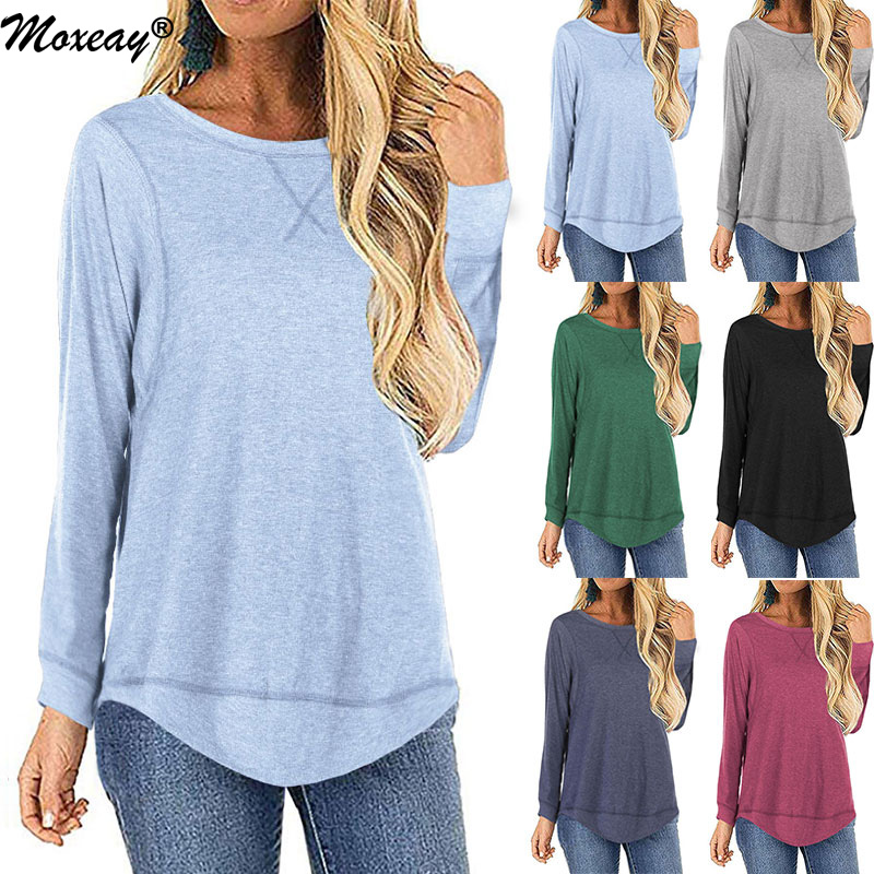 Moxeay 2019 Autumn Winter Women Top T Shirt Casual Solid O Neck Ladies T Shirt Loose Long Sleeves Tunic Basic Shirt Tops Femme in T Shirts from Women 39 s Clothing