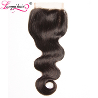 Longqi Hair Peruvian Body Wave Lace Closure 10-20 Inch Free Part 120% Density NonRemy Human Hair Free Shipping