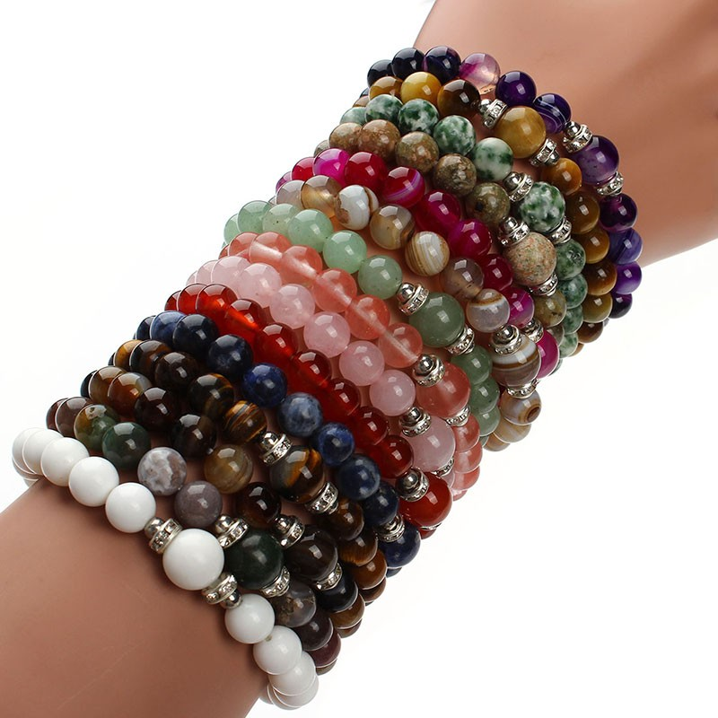 17 New Fashion Blue White Green Blue Stretch Energy Yoga Natural Stone Bracelet for Women & Men Gift Jewelry Pluseras F2853 2