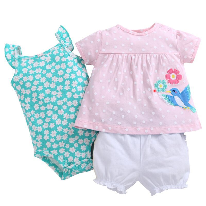 Wholesales Baby Girl Clothing Summer Newborn Baby Girls T-shirts+Romper+Shorts 3pcs Sets Brand Baby Products Free Shipping
