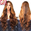 7A hermosa brasileña U parte peluca 150 densidad del pelo virginal sin cola llena del cordón pelucas de cabello humano onda del cuerpo Ombre peluca del frente del cordón 12-24