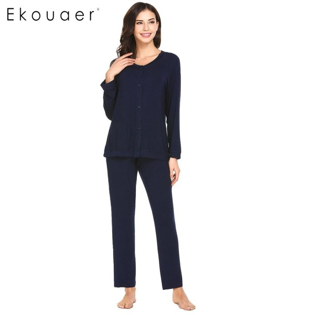 57a476c8a7 Ekouaer Fashion Women Pajamas Soft Sleepwear V-Neck Long Sleeve Button Down  Top And Pants Pajama Set Breathable Pyjamas 3 Colors
