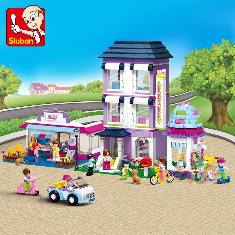 727pcs sluban 2900 city series automotive service center educational model Sluban Model building kits City street compatible with lego city 3D blocks Educational model & building toy hobbies for children