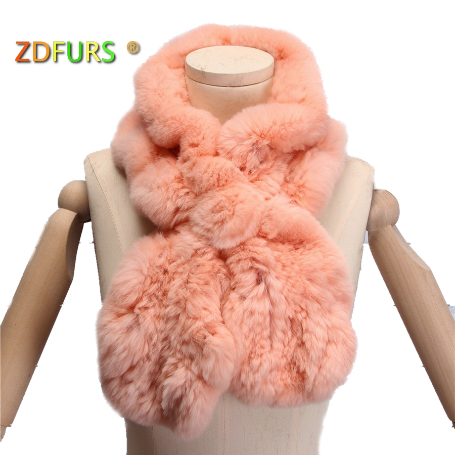 ZDFURS *High Quality Fashion Womens Knitted Rex Rabbit Fur   Scarves   Natural Fur Neckerchief Winter Real Fur Flounce   scarf     Wraps