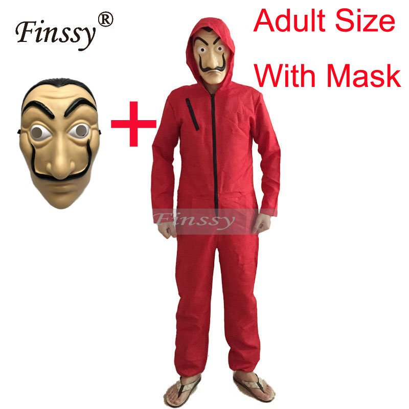 Money Heist The House of Paper Costume for Men La Casa De Papel Salvador Dali Costume Halloween Carnival Costume for Women Mask
