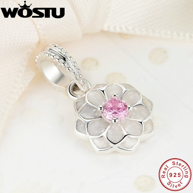 100% 925 Sterling Silver Blooming Dahlia Pendant Charm Beads Fit Original WST Bracelet Authentic Luxury DIY Jewelry цена 2017