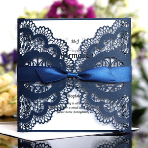 1pcs Elegant Square Hollow Lover Bird Laser Cut Wedding Invitation Card With Ribbon Personalized Wedding Decor Party Supplies