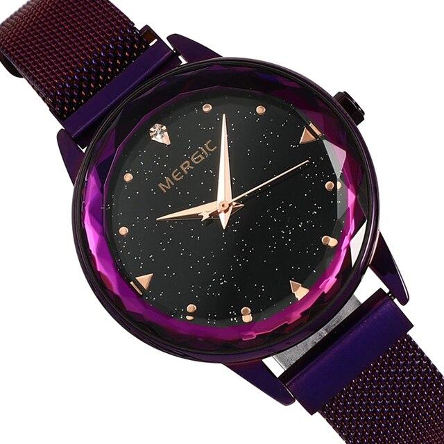 Luxury Quartz Starry Sky Crystal Dial Purple Watch Women Blue Black Mesh Magnet Stainless Steel Waterproof Elegant Ladies 2019