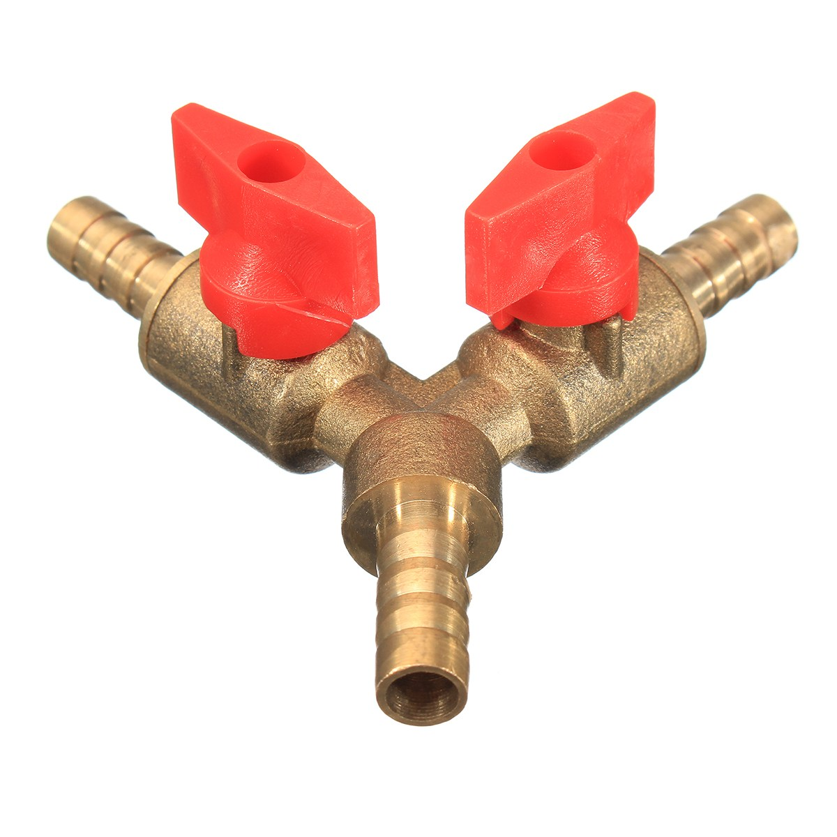 цена на 5/16 8mm Brass Y 3-Way Shut off Ball Valve Fitting Hose Barb Fuel Gas CLAMP Tee New Arrival