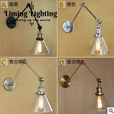 Retro Loft Style Swing Arm Industrial Wall Lamp Vintage Fixtures LED Stair Light Edison Wall Sconce Arandela Appliques Murale