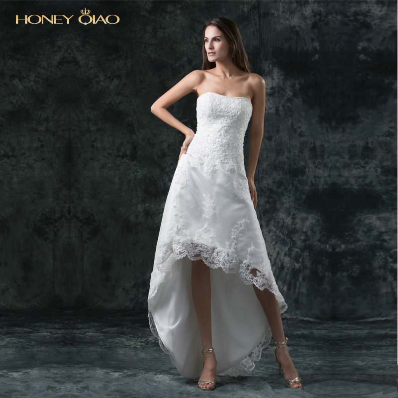 Simple Modest Wedding Dress 2015 Sweetheart Low Back: Honey Qiao High Low Wedding Dresses Lace Vestido De Noiva