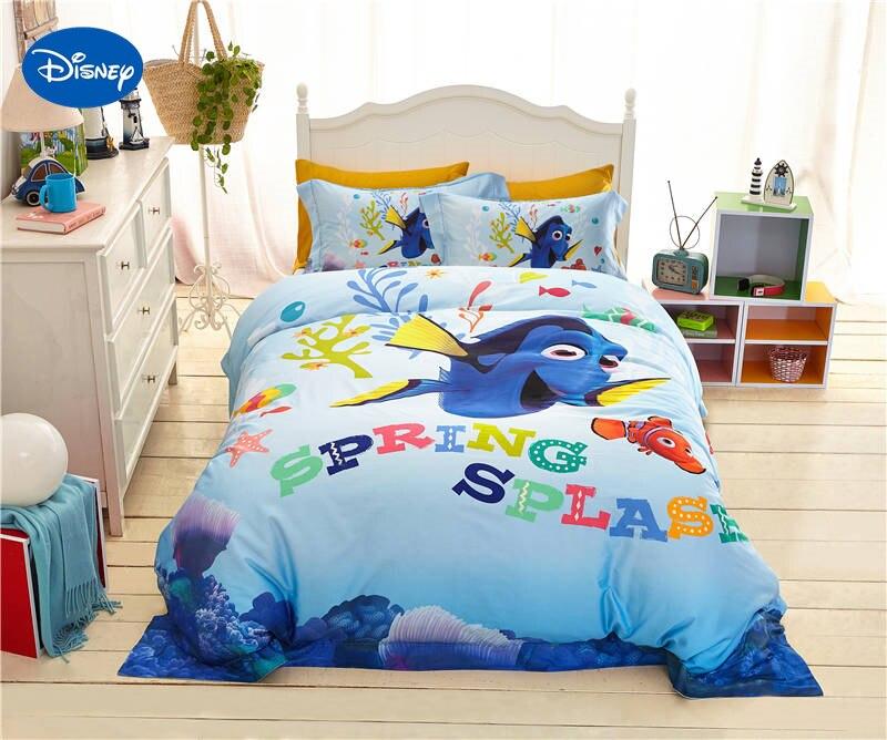 Disney Cartoon trouver Nemo poisson imprimé literie pour fille chambre décor soie Satin lit couverture ensemble de draps simple double reine taille