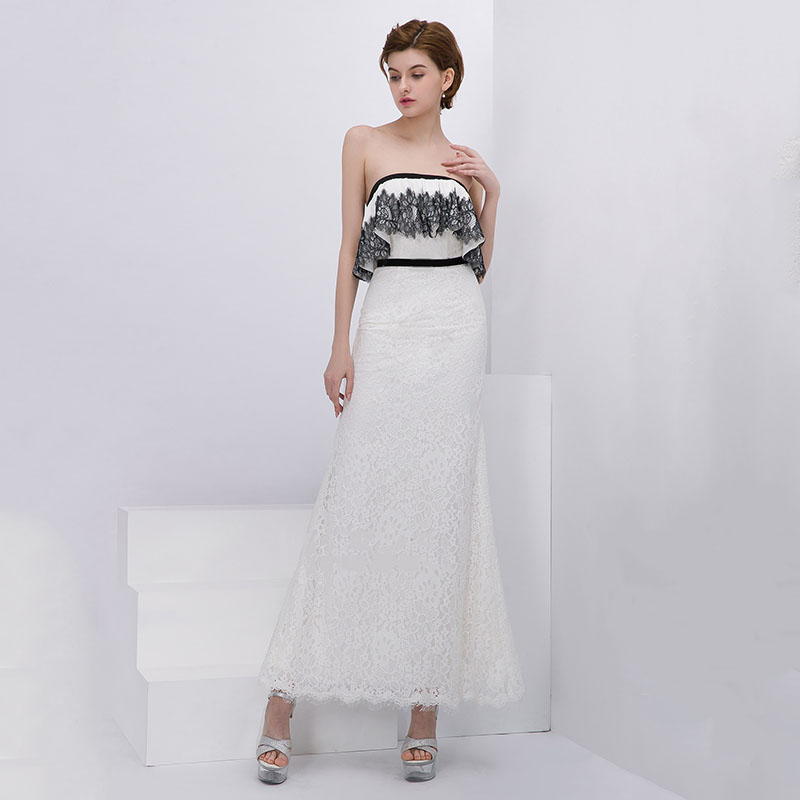 Evening Dress Wrapped Chest Women Party Dresses Sleeveless Robe De Soiree 2019 Long Plus Size Lace Backless Formal Gowns E672