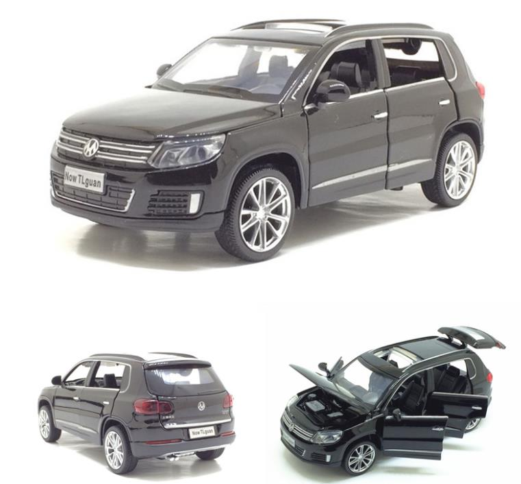 1:32 Alloy Pull Back Toy Car Model,musical& Flashing 6 Open The Doors,high Simulation Tiguan SUV, Diecast Metal,free Shipping