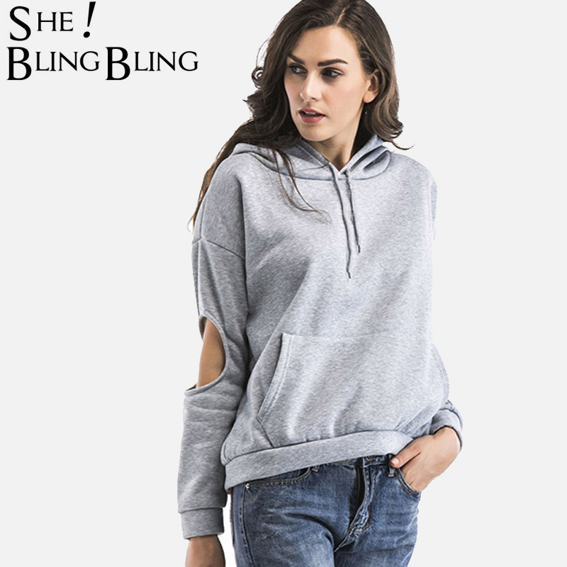 SheBlingBling Women Hoodies Fashion Elbow Cut Long Sleeve Hooded Sweatshirts Pocket Front Drop Shoulder Pullovers