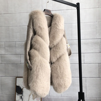 S 3XL plus size warm faux fox Fur Coat female winter fashion brand stitching sleeveless thick fur coat fur vest Outerwear wq683