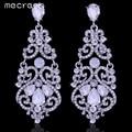 Mecresh Gorgeous Crystal Big Long Hanging Earrings Silver Plating Geometric Fashion Bridal Wedding Jewelry European Style EH373