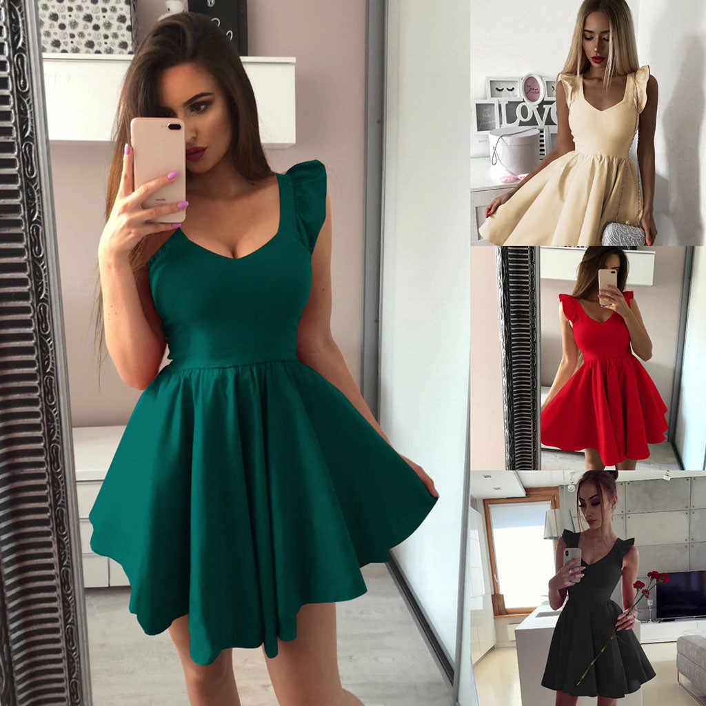 Summer Best Sale 2019 Womens Female Solid dress Sleeveless V Neck Party Cocktail Ladies Mini Bodycon Dress Vestido #111