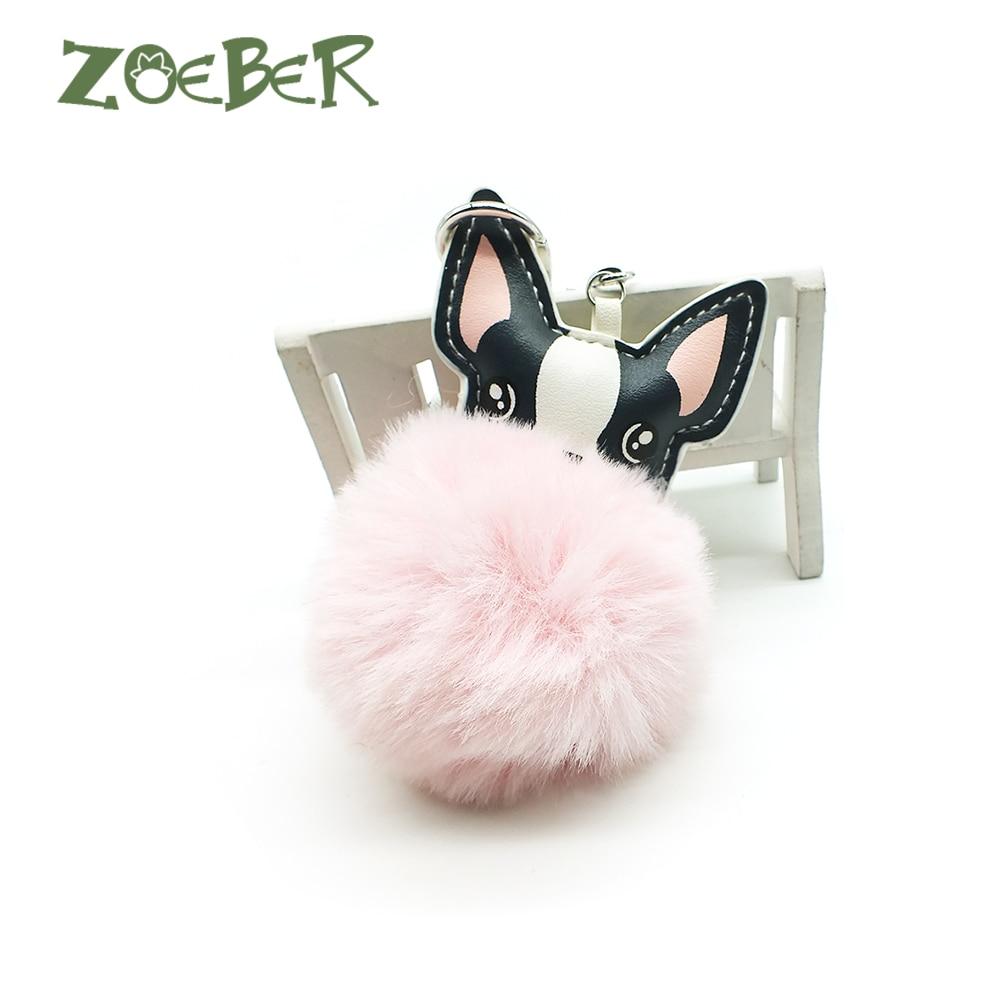 ZOEBER Dog Pompom Key ChainFluffy Rabbit Fur Ball French Bulldog Keychain Pu Leather Animal Dog Keyring Holder Bag Charm Trinket