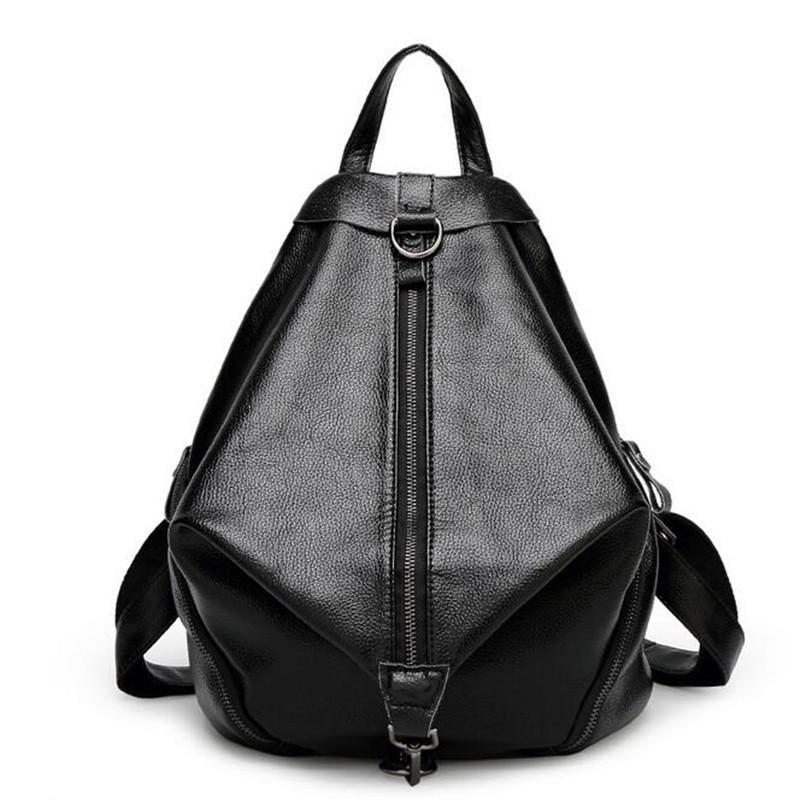 New Designer Women Backpack For Teens Girls Preppy Style School Bag Leather Backpack Ladies High Quality Black Rucksack цена 2016