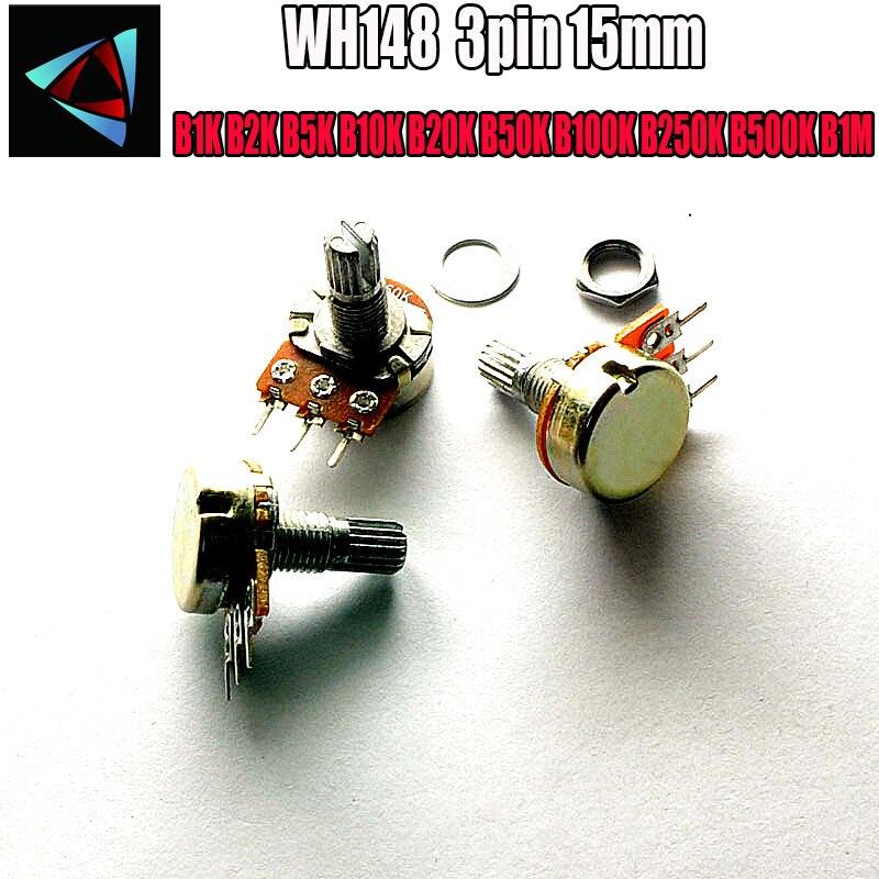 WH148 B1K B2K B5K B10K B20K B50K B100K B250K B500K B1M 3pin 15mm 1K 2K 5K 10K 20K 50K 100K 250K 500K 1M