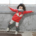 2016 o-neck cute cotton long pullover and white elastic pants winter tracksuit for girls New Year costumes for children
