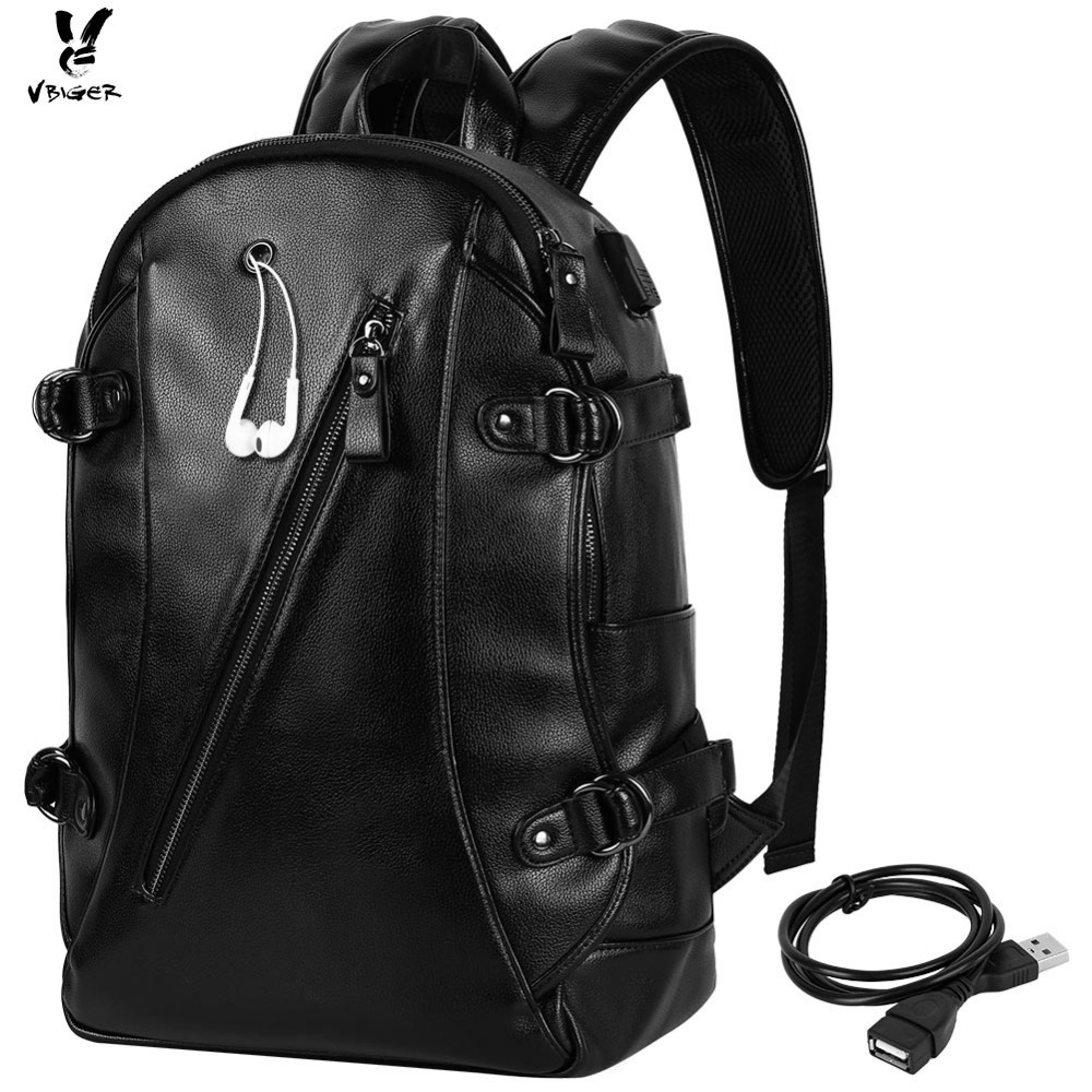 Vbiger Men PU Laptop Backpack Casual Large Capacity School Bag with USB Cable Perfect for Holding 15'' Laptop iPad Notebook men backpack student school bag for teenager boys large capacity trip backpacks laptop backpack for 15 inches mochila masculina