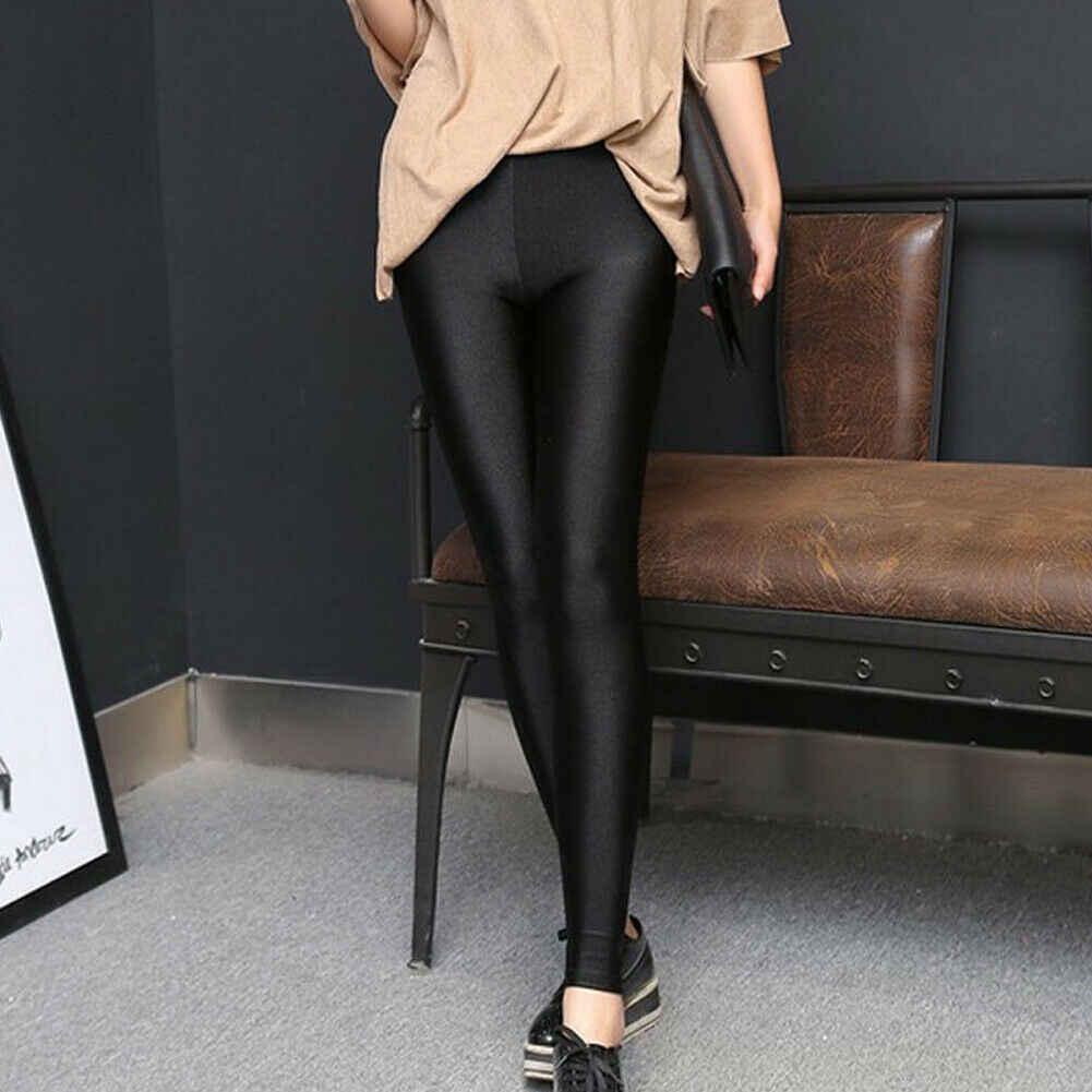 מכירה לוהטת מוצק סקסי מבריק שחור דק אלסטי נשים גבוהה מותן למתוח סקיני המבריק חותלות Slim Fit מכנסיים בתוספת גודל