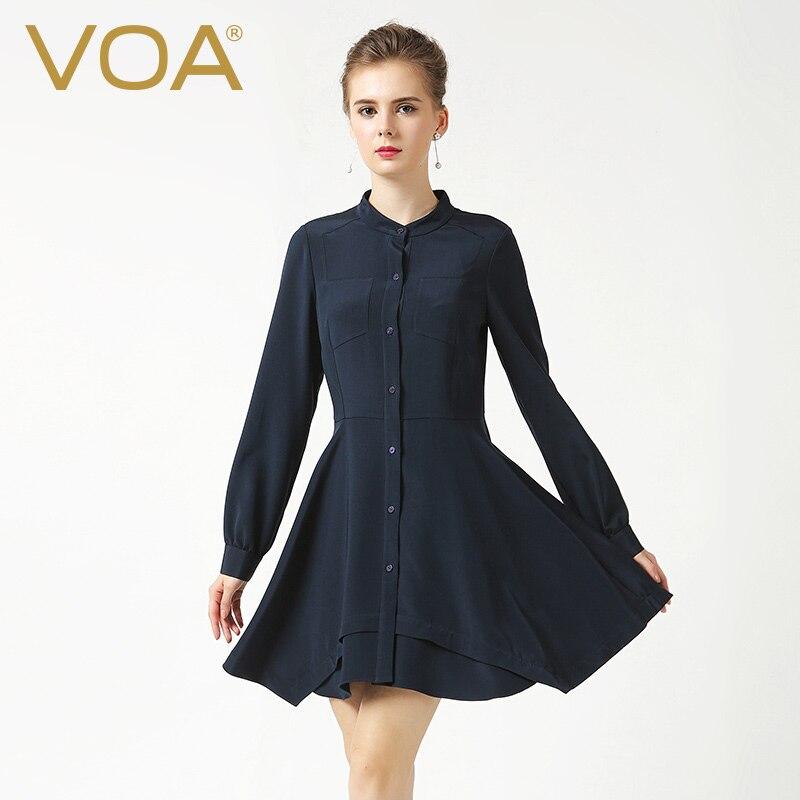 VOA new heavy silk font b shirt b font female 2017 Summer elastic long bud font