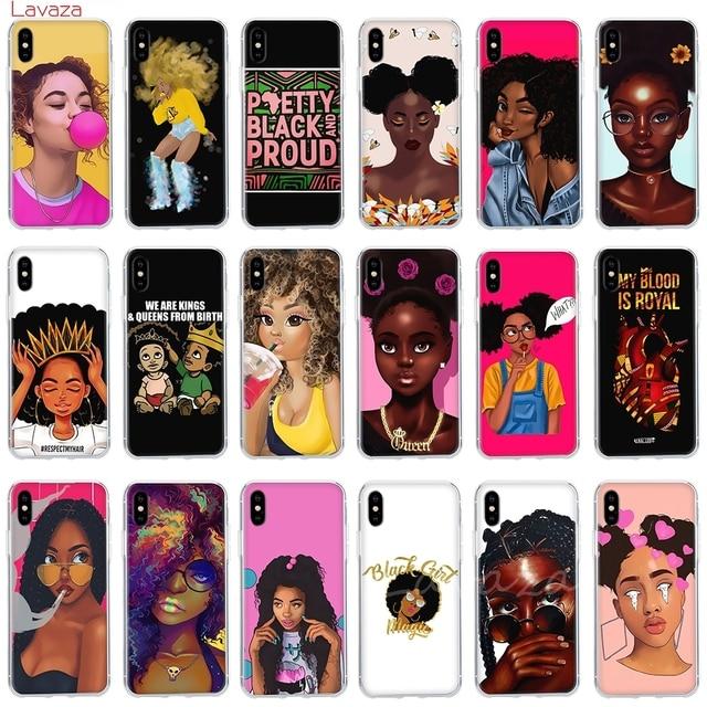 MOMBASA Coque Beauté Africaine Coque de Téléphone pour Apple iPhone 6 6 s 7 8 Plus X 5 5S SE Couverture pour iPhone XS Max XR Cas