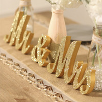 HAOLIVE Wooden MR & MRS Wedding Shiny Gold Letters Romantic DIY Ornaments Wedding Table Crafts For Wedding Party Anniversary