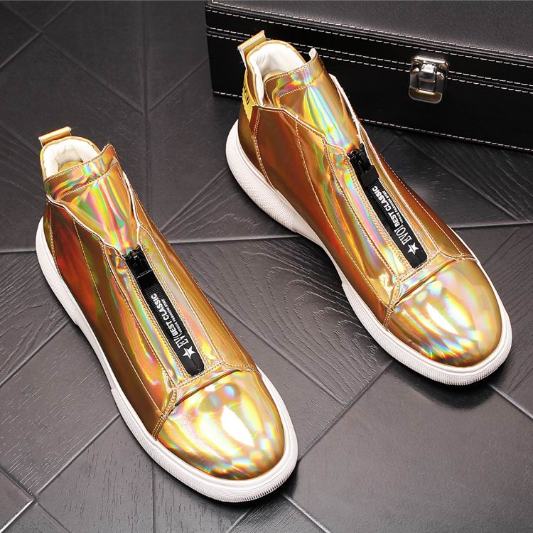 ERRFC Luxury Men's Gold Leisure Shoes Fashion Designer High Top Zip Man Casual Comfort Shoes For Show White Vogue Party Shoes 43 1