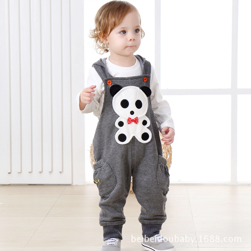 ФОТО boys pant 2016 Trousers Boys Girls Child Hooded Baby Bib Pants Tide tulum cartoon panda pants huarache kids baby girl clothes