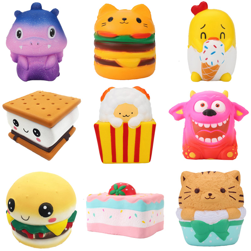 Chocolate Cake Squishy Slow Rebound Squeeze Toy Soft Cute Waffle Healing Funny Autism Sensory Toys For Kids Cookie