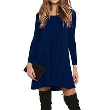 Womens Plus Size Autumn Winter Long Sleeve Basic Pleated T-Shirt Dress Flowy Solid Color Round Neck With Two Side Pockets Knee L grey causal two side pockets hoodie