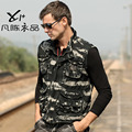 New men's male casual Vintage military fatigues vest bags vest camo Camouflage sleeveless outerwear free shipping
