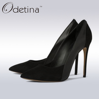 Odetina 2017 Brand Fashion Ladies Suede Sexy High Heels Big Size Dress Pumps Super High Pump Women Fashion Party Shoes Stiletto