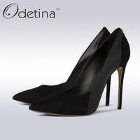 Odetina 2017 Brand Fashion Ladies Suede Sexy High Heels Big Size Dress Pumps Super High Pump