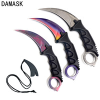 Damask 3 PCS Set Colorful CSGO Counter Strike Karambit Knife Stainless Steel Pattern Sharp Blade Knives