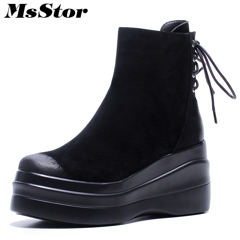 MsStor Thick Bottom Elegant Women Boots Fashion Concise Platform Ankle Boots Women Shoes Zipper Cross Tied Boots Shoes Woman msstor round toe thick bottom women boots casual fashion concise ankle boots women shoes mature elegant platform boots women