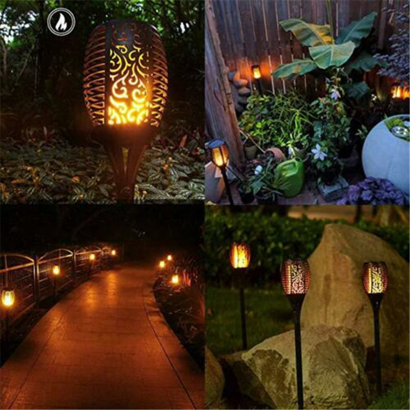 Image 5 - 4 Pack Solar 96LEDs LED Flame Lamp Waterproof Lawn Dancing Flicker Torch Lights Outdoor Garden Path Decoration Landscape Lights-in Novelty Lighting from Lights & Lighting