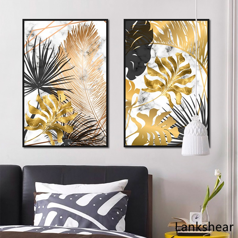 HTB1mv7hXpT7gK0jSZFpq6yTkpXaX Scandinavian Style Poster Marble Golden Leaf Art Plant Abstract Painting Living Room Decoration Pictures Nordic Decoration