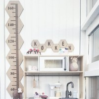 Nordic Style Wooden Height Ruler Baby Growth Chart Measurement For Kids Room Decoration Hanging Wall Decor Nursery Photo Props|Decorative Growth Charts| |  -