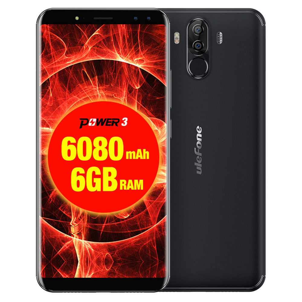 US $259 99 |Original Ulefone Power 3 Mobile Phones 6 0 inch 64GB ROM 6GB  RAM Octa Core MTK6763 Android 7 1 Four Cameras 6080mAh Smartphone-in Mobile